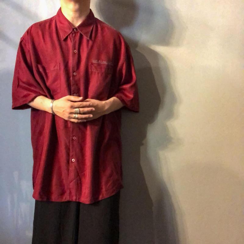 1990's~  HARLEY DAVIDSON ビッグサイズ 刺繍 半袖 シルクシャツ / 古着 ビンテージ
