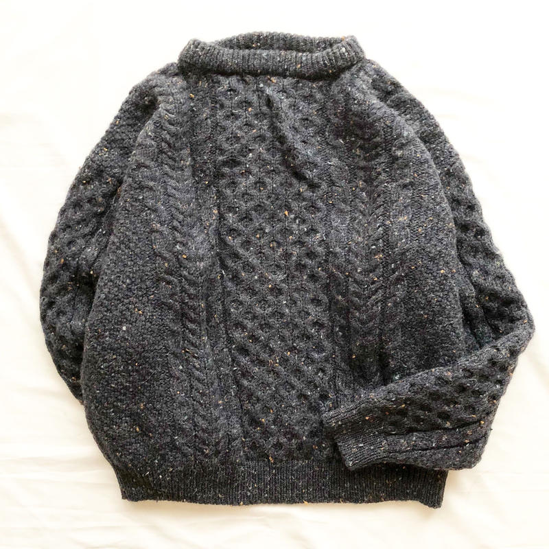 L.L.Bean アイルランド製 ケーブル編み フィッシャーマン アランニット ミックスセーター/古着ビンテージ