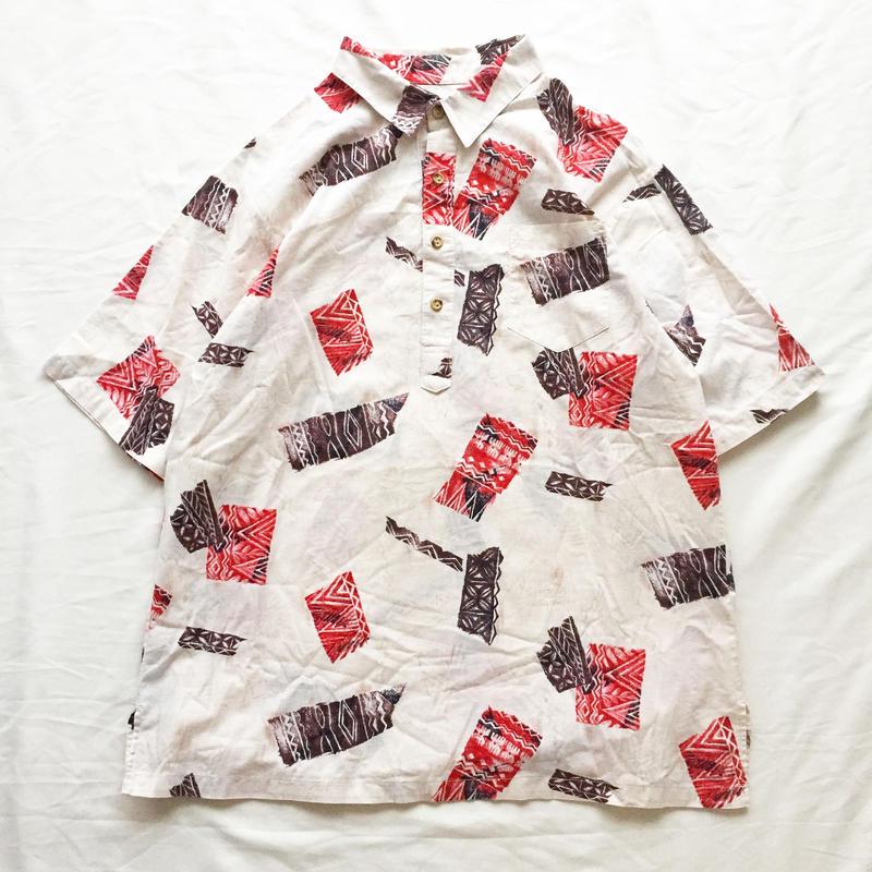 1980's~ USA製 プルオーバー 総柄 半袖 ハワイアンシャツ / 古着 ビンテージ