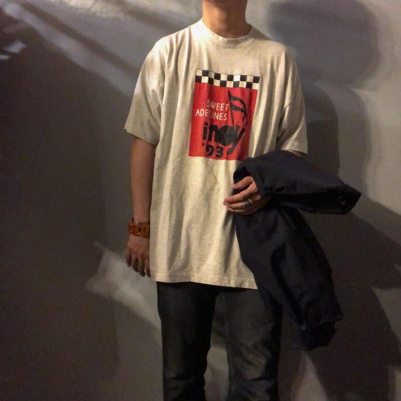 1990's~ ビッグサイズ チェッカー柄× ミュージックプリント 半袖Tシャツ / 古着 ビンテージ