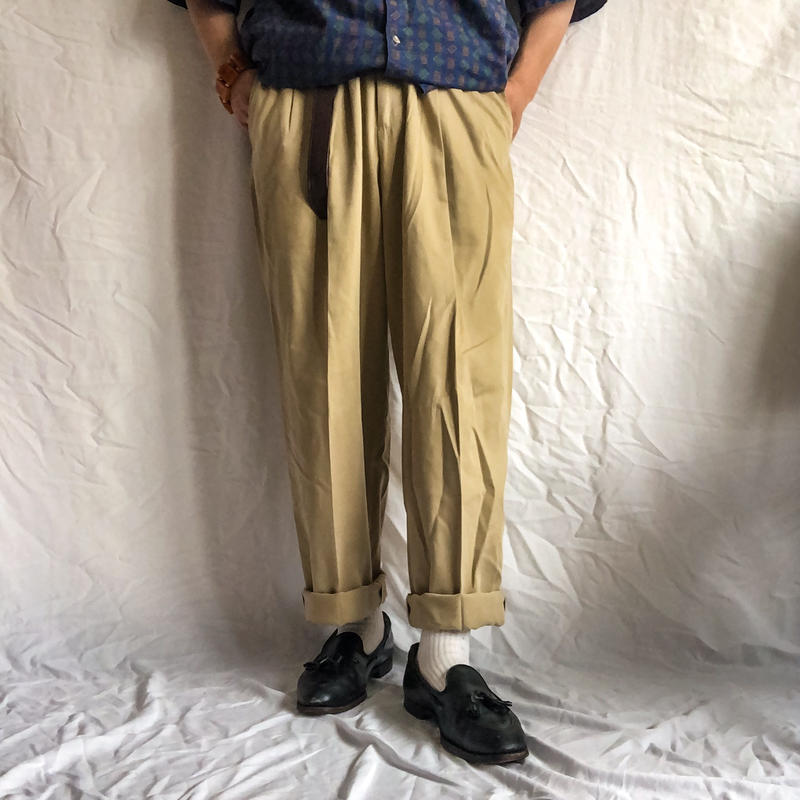 1990's~ bigsize beige tencell×cotton slacks