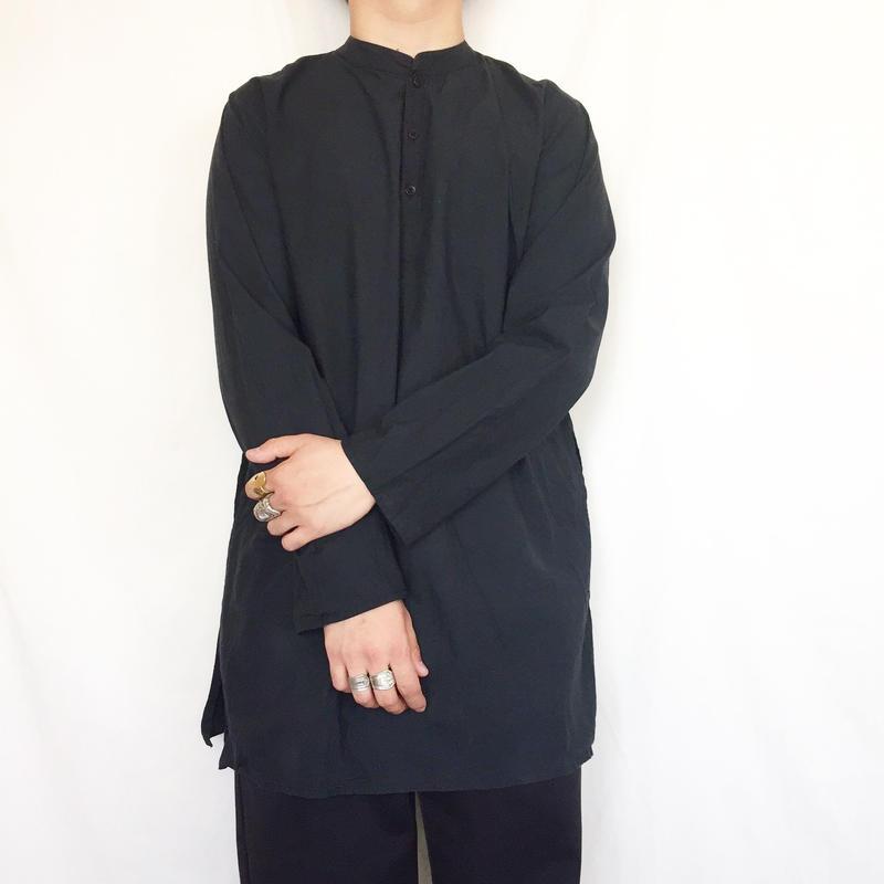 ブラックカラー プルオーバー バンドカラー コットン 長袖シャツ/古着 ビンテージ