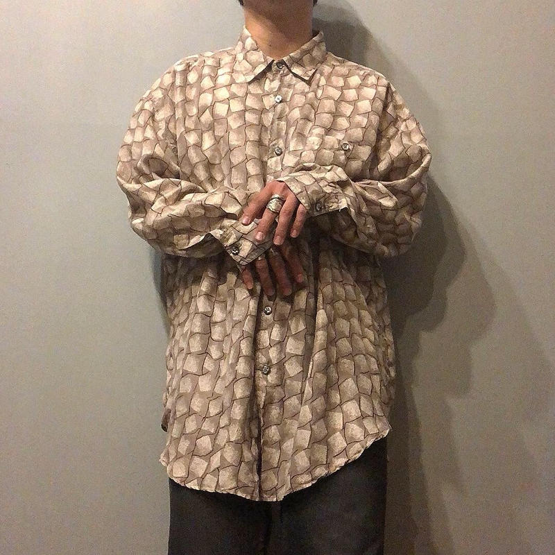 1990's~ 総柄 シルクシャツ / 古着 ビンテージ