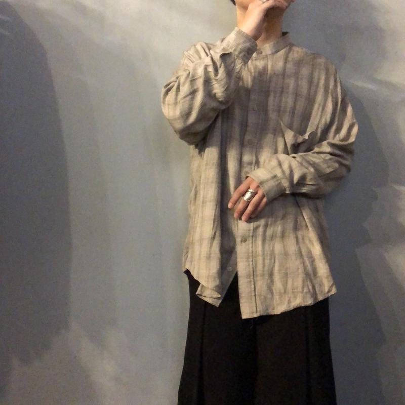 1990's~ ビッグサイズ チェック柄 バンドカラー レーヨンシャツ / 古着 ビンテージ