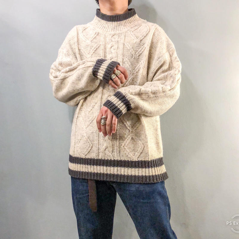 ~1990's ハイネック ケーブル編み セーター
