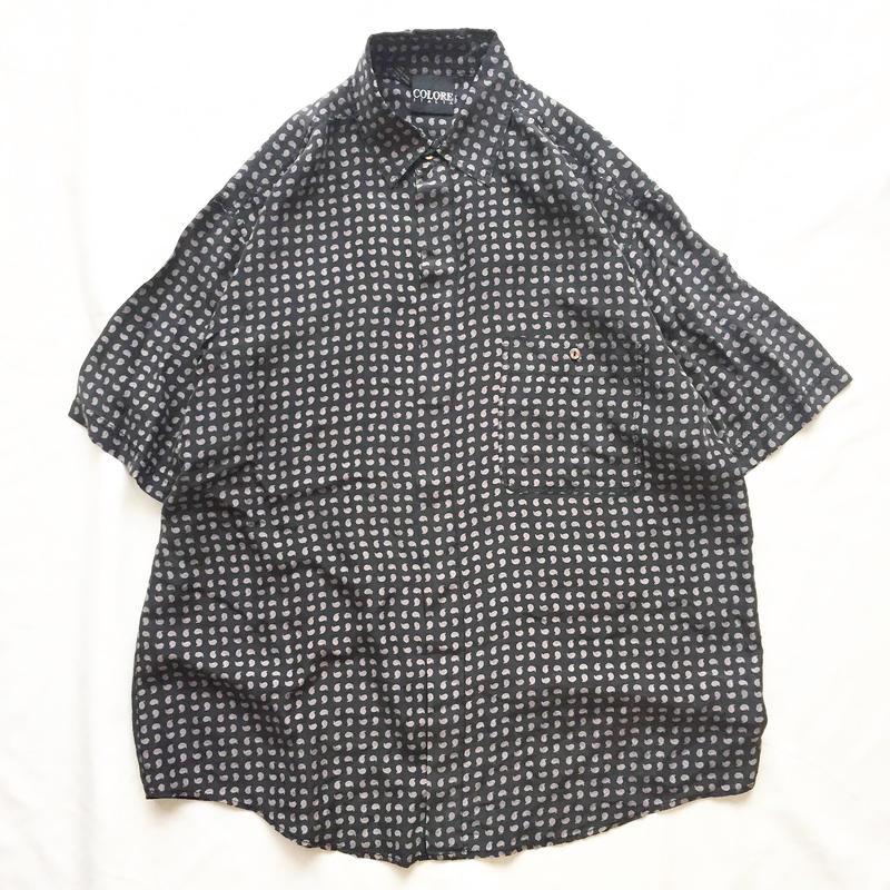 old ブラック ペイズリー柄 シルク 半袖シャツ / 古着 ビンテージ