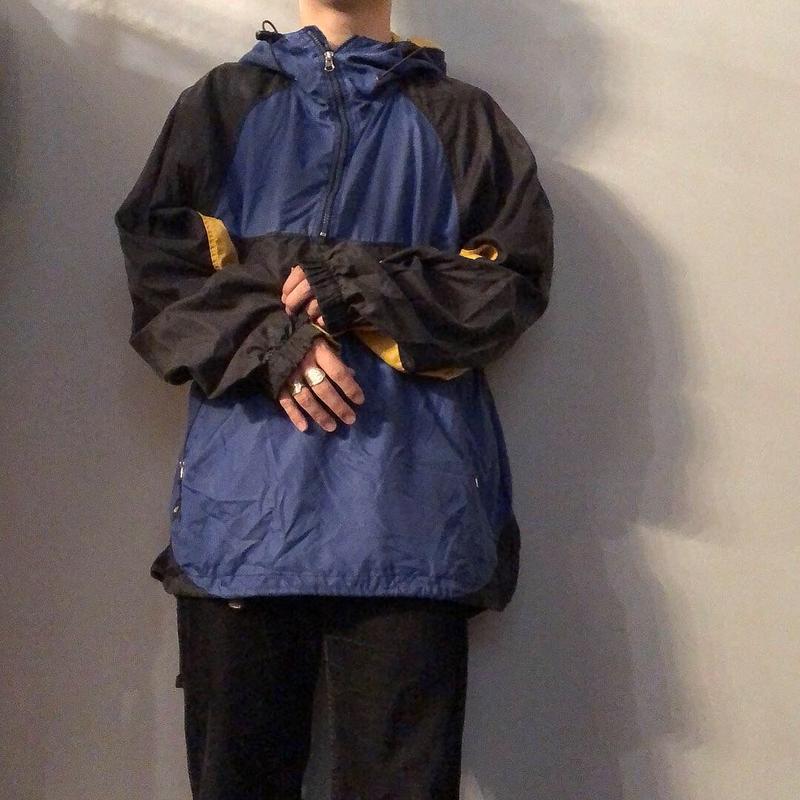 1990's~ 3トーンカラー 切り替えデザイン ナイロン アノラックパーカー / 古着 ビンテージ