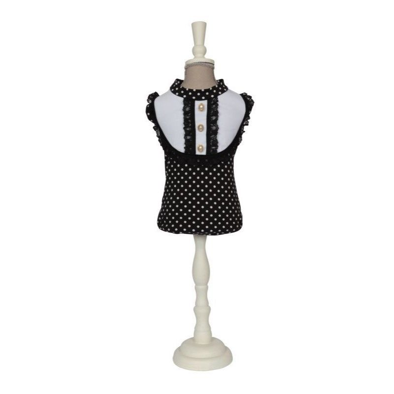 5076 T-SHIRT JULIA-BLACK/WHITE POLKA DOTS