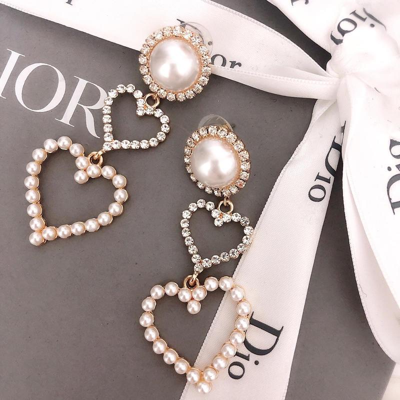 2heart pearl earring(No.31007)