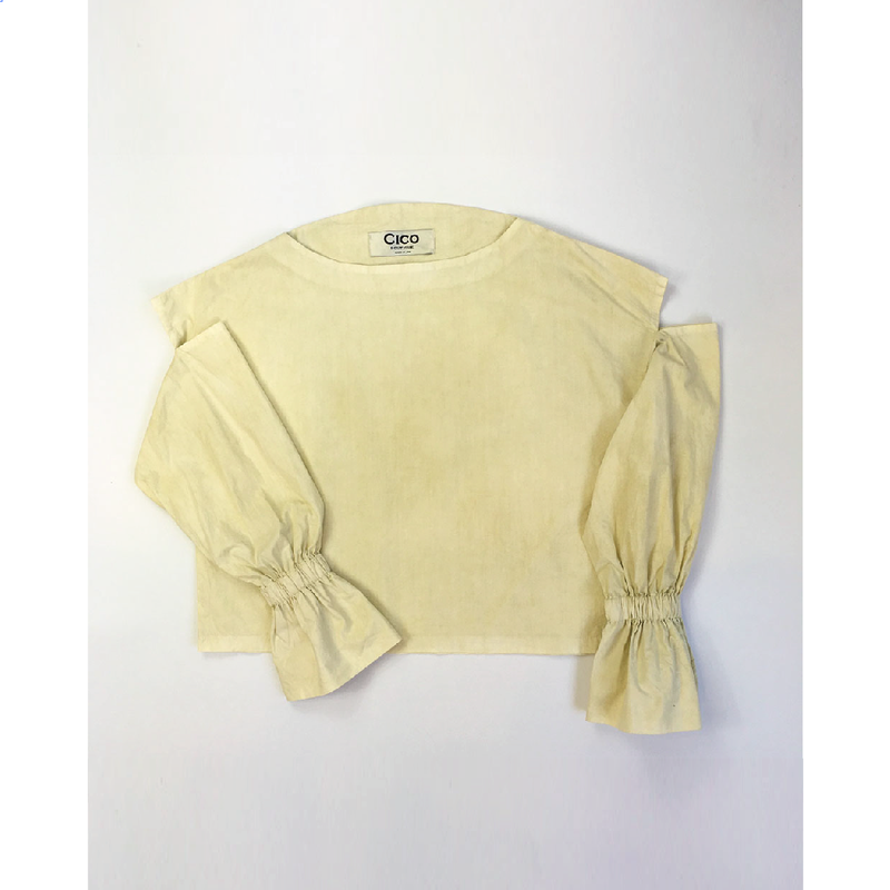 natural dyed circle neck blouse