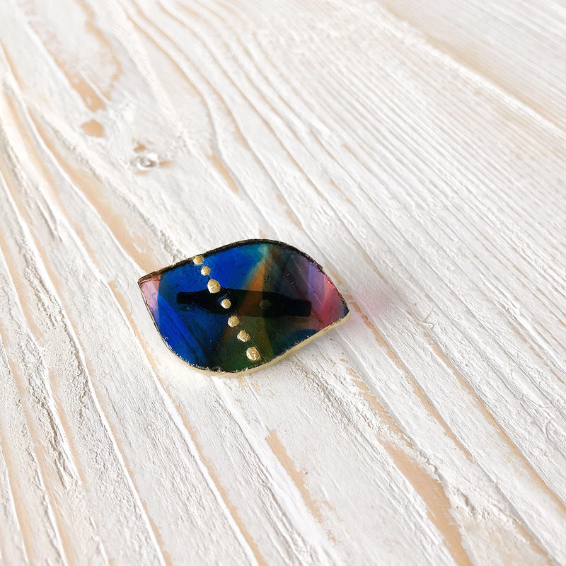 antique glass brooch/金継ぎ