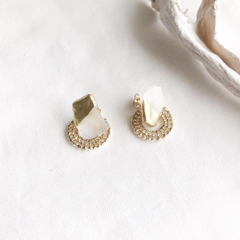 sea glass jewelry/k14gfピアス/真鍮イヤリング