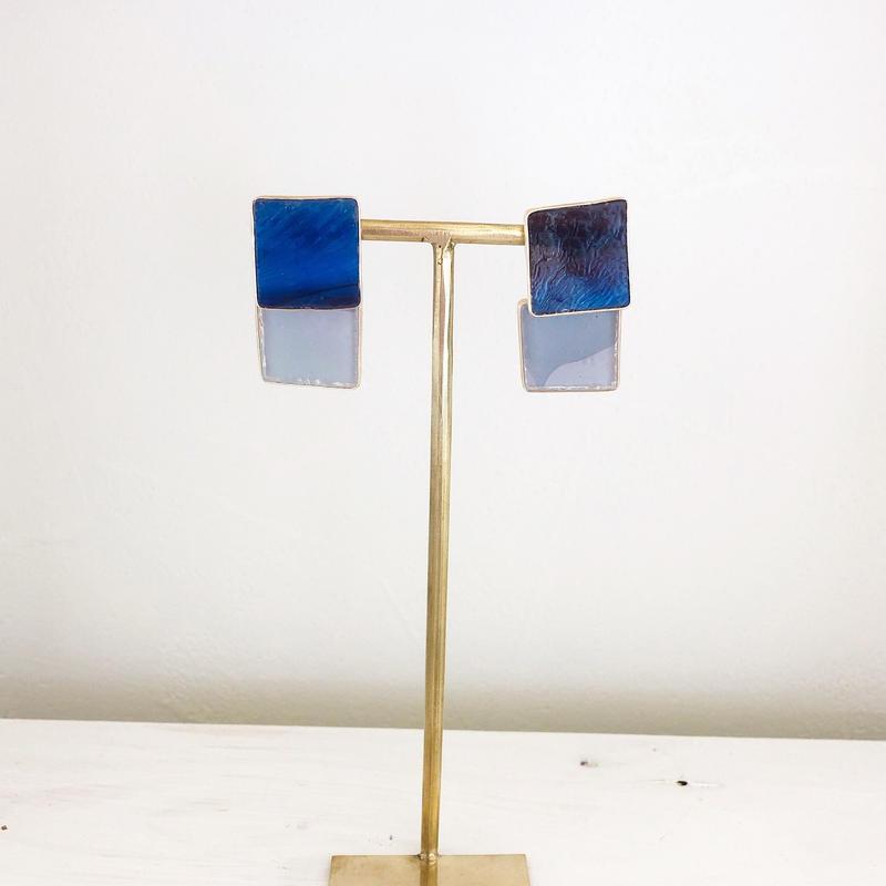 special jewelry/ダブルガラス/k14gf ピアス/真鍮イヤリング