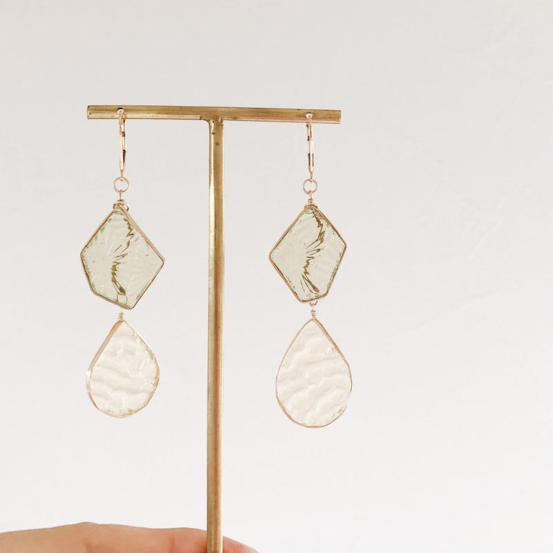 special jewelry/double glass/k14gfピアス/真鍮イヤリング