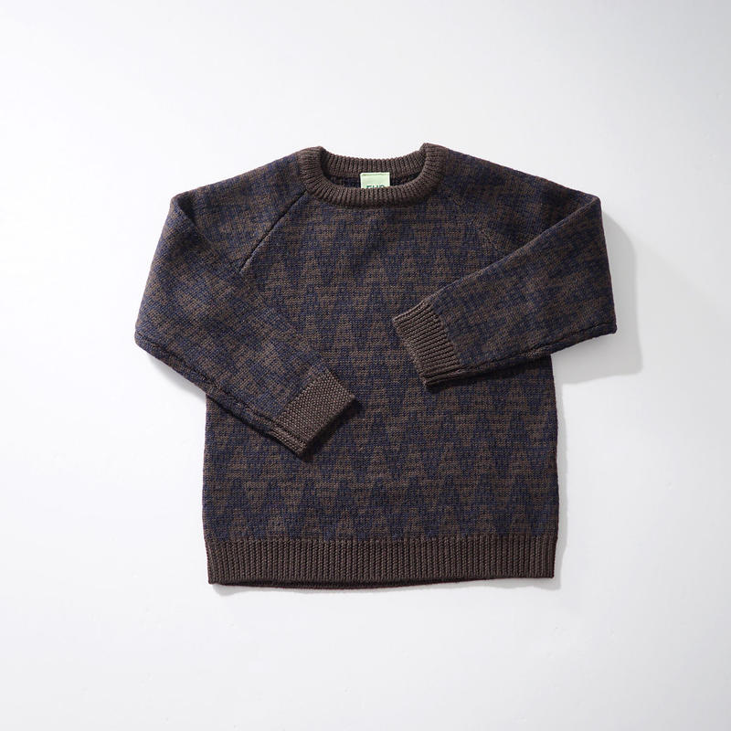 Zig Zag Sweater BROWN×NAVY (FUB) 140、150cm