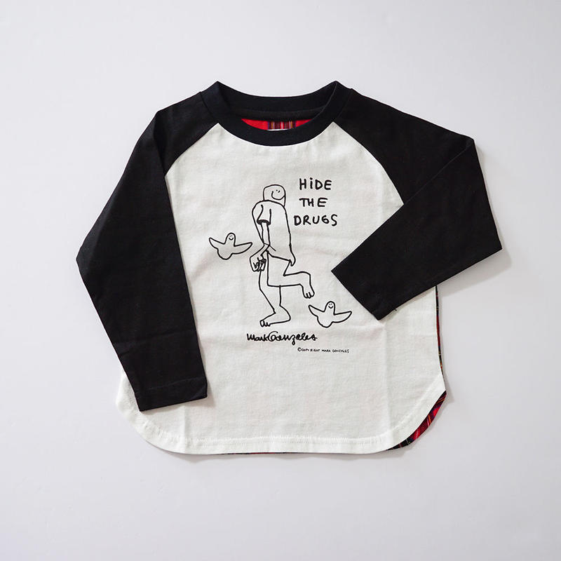 CHECKラグランTシャツ BLACK (MARK GONZALES) 120~140cm