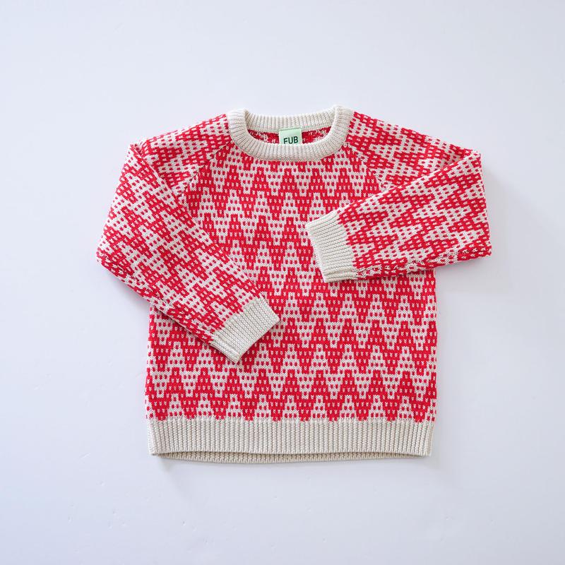 Zig Zag Sweater ECRU×RED (FUB) 100~130cm