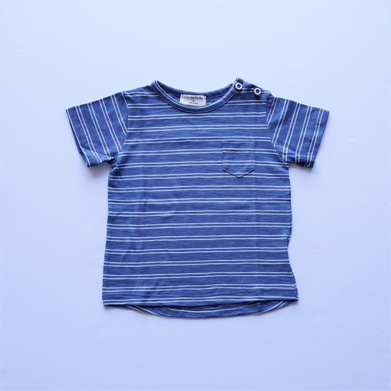 ボーダーTシャツ INDIGO× WHITE (1+in the family ) 12M