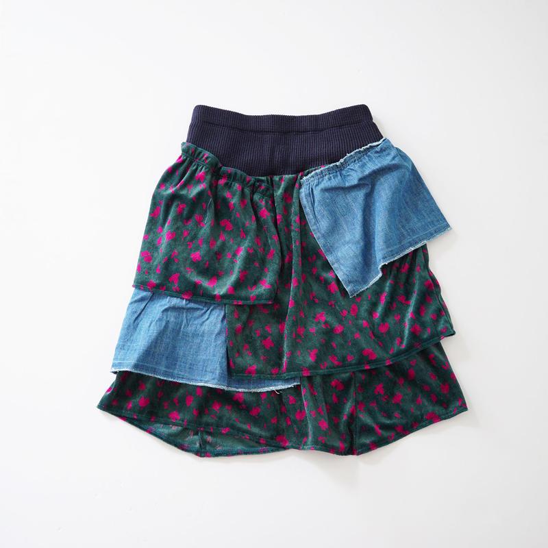 花びらベロアの段々スカート (wafflish waffle) 160cm