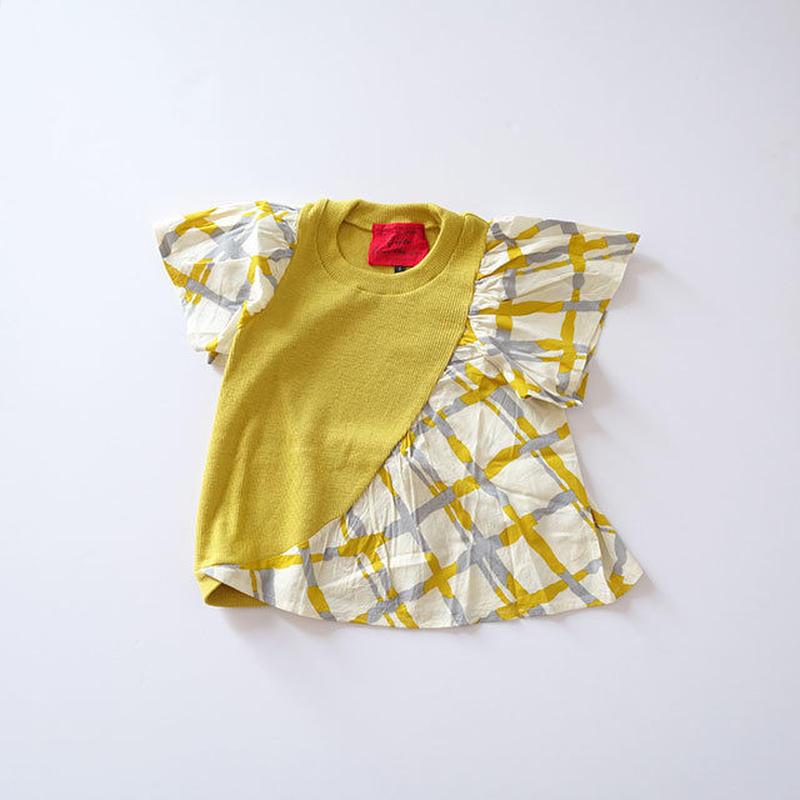 黄色いリブとローンのフレンチトップ (wafflish waffle) 120~140cm