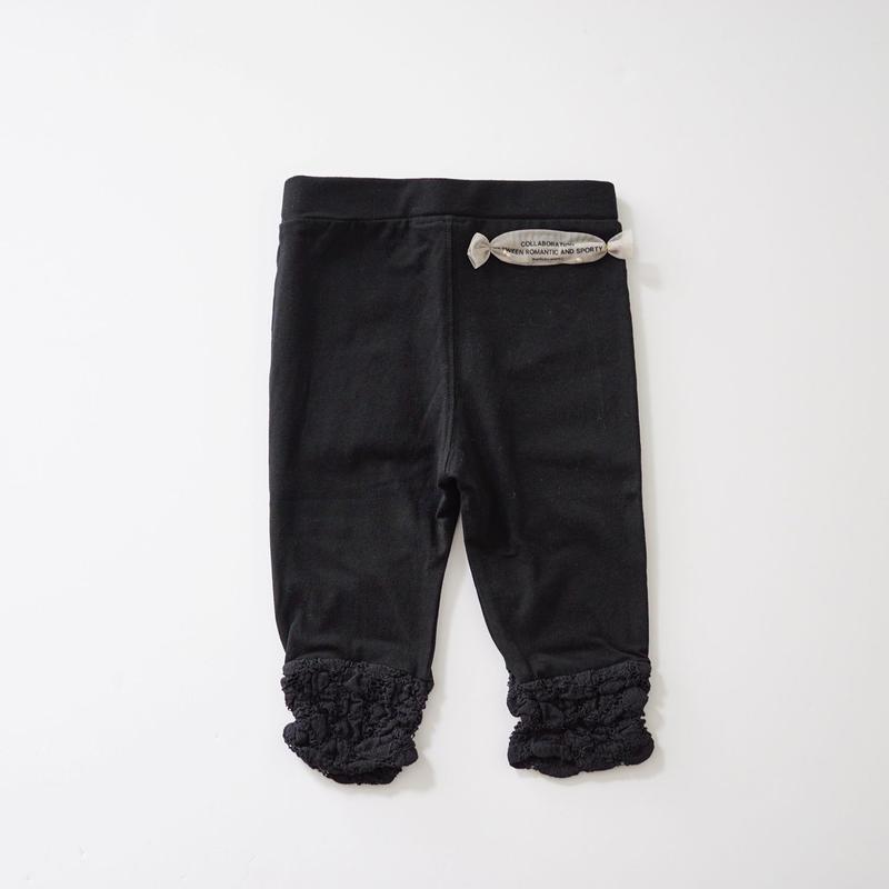 裾レースレギンス BLACK (wafflish waffle) 80cm