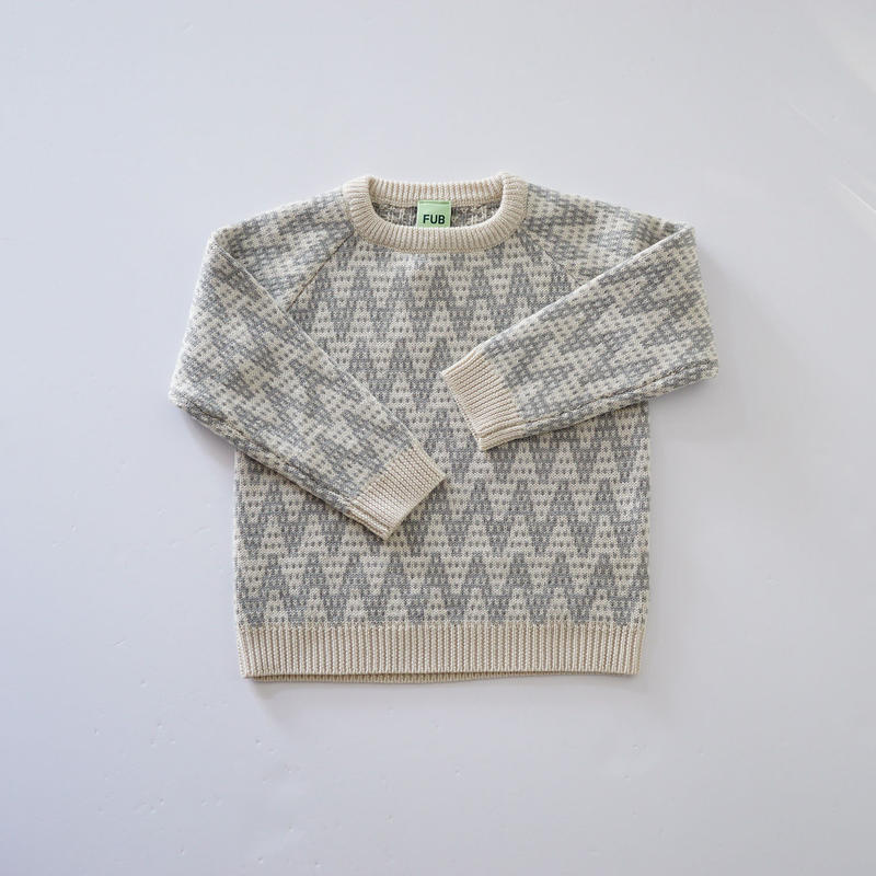 Zig Zag Sweater ECRU×LIGHT GREY (FUB) 140、150cm