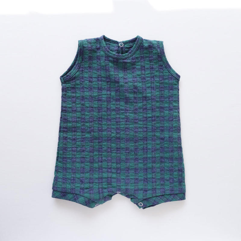 SLEEVELESS ONESIE TOMMIE ロンパース GREEN CHECK (MAKIE) 6~18M