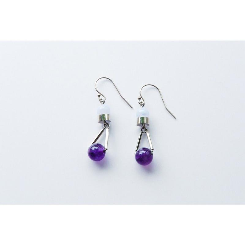 """PARTICLE"" EARRINGS  -  AMETHYSTE x BLUE LACE"