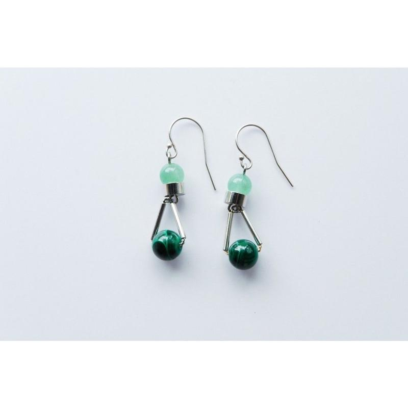 """PARTICLE"" EARRINGS  -  MALACHITE x AVENTURINE"