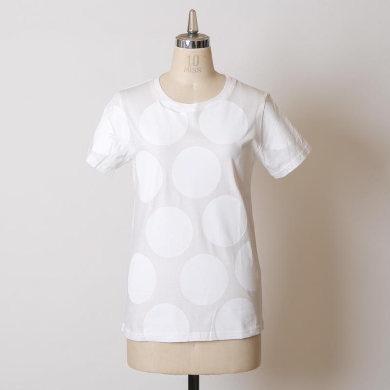 LADY'S高蔵染クルーネックドットTシャツ/162K041(D.オフ×オフドット中)