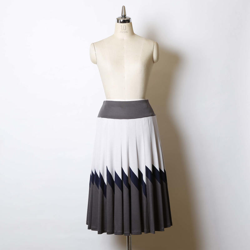【SALE】三配色フレアースカート/141K0010(アイスグレー×ナス紺×チャコール)
