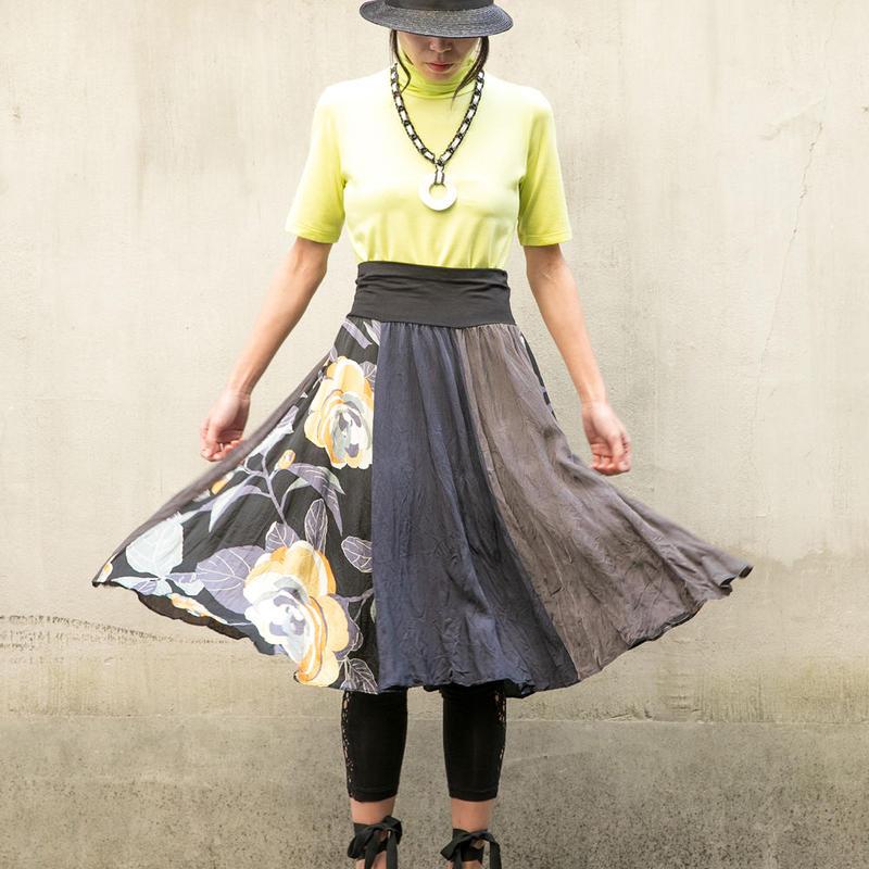 三配色フレアスカート/ C ブラック系
