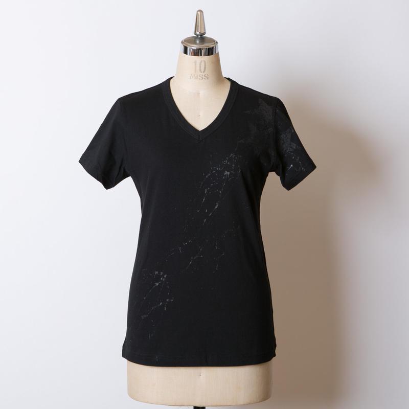 LADY'S高蔵染Vネック星柄Tシャツ/163K085(D.ブラック×ブラック)