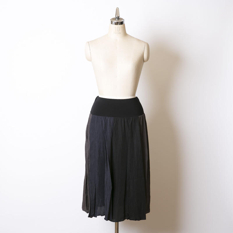 3配色フレアースカート/163S083(B.ネイビー×チャコール×ブラック)