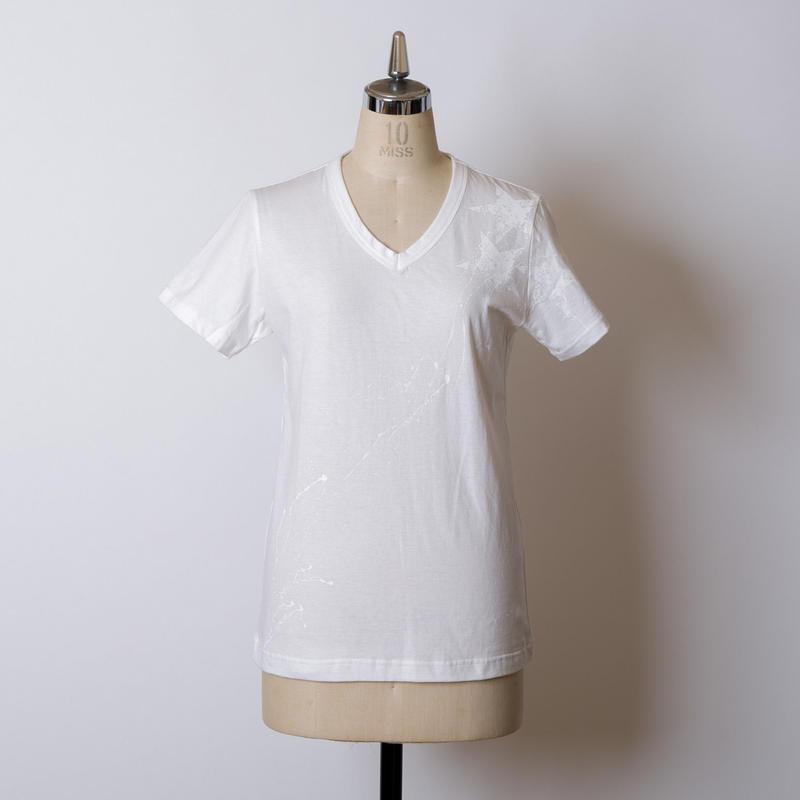 LADY'S高蔵染Vネック星柄Tシャツ/163K085(A.オフ×オフ)