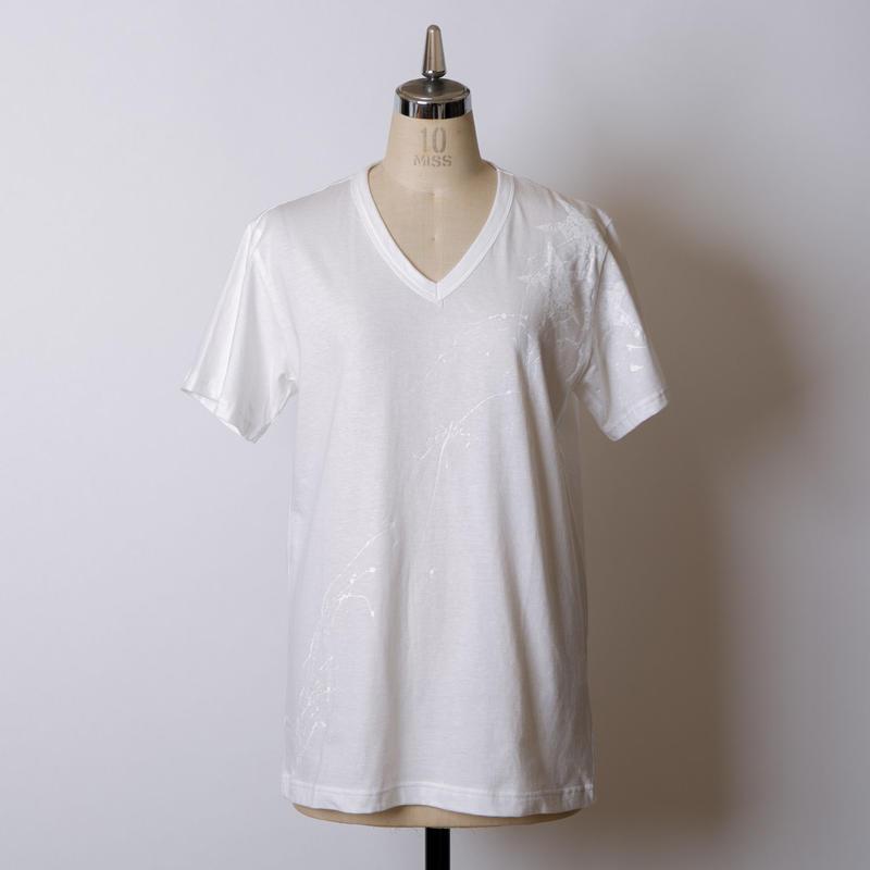 MEN'S高蔵染Vネック星柄Tシャツ/163K086(A.オフ×オフ)