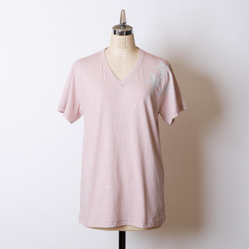 MEN'S高蔵染Vネック星柄Tシャツ/163K086(E.スモーキーピンク×グレー)