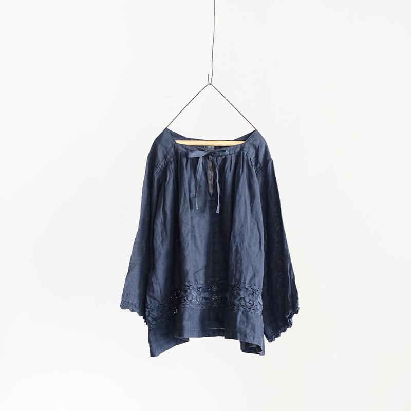 18-0033  硫化染め Linen Lase Pullover / NAVY