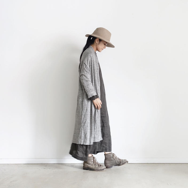 18-0044  Linen Long Cardigan  / GRAY