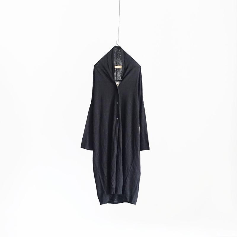 18-0044  Linen Long Cardigan  / BLACK