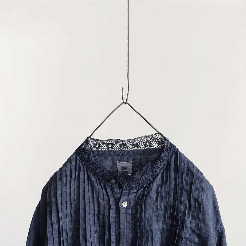 18-0035  硫化染め Linen Lase Dress / NAVY
