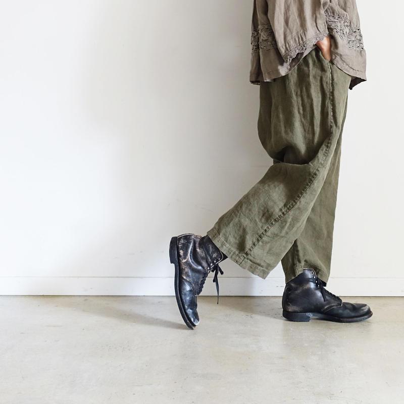 18-0041  硫化染め Linen Pants / KHAKI