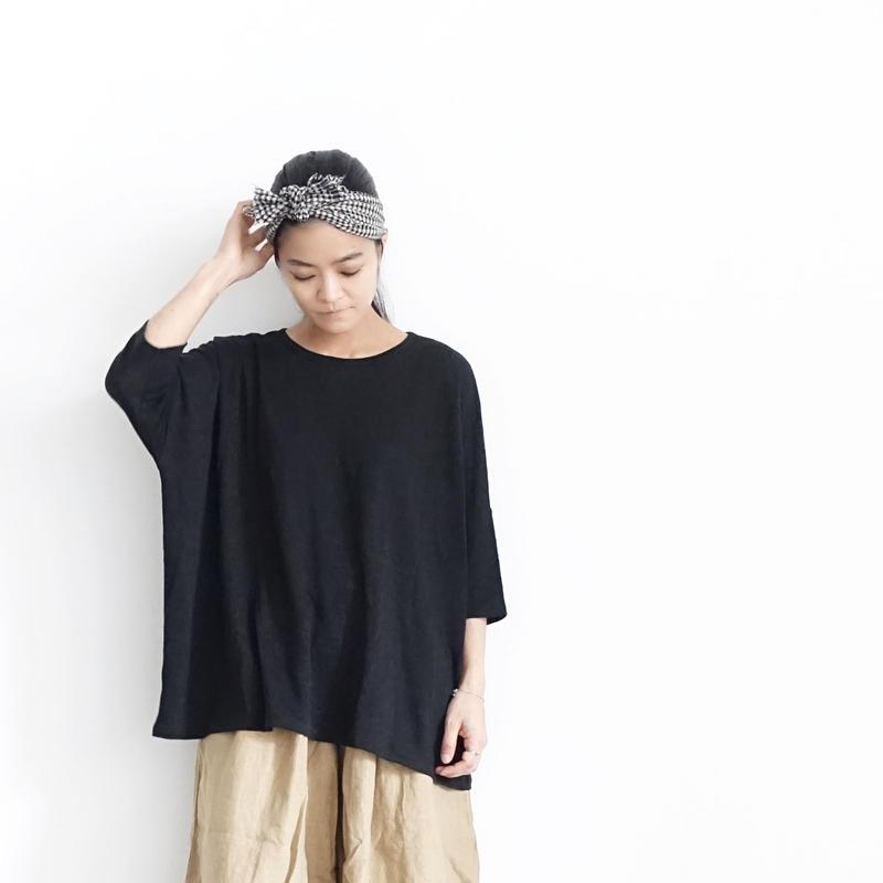 17-0031 Linen Pullover / BLACK