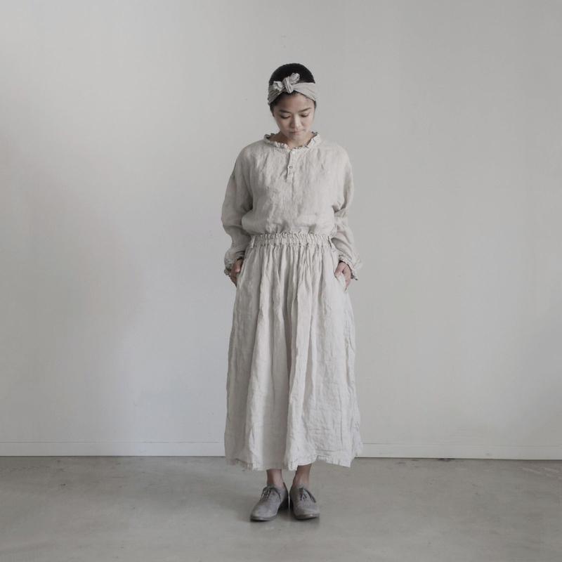 17-0003  Linen Skirt / BEIGE