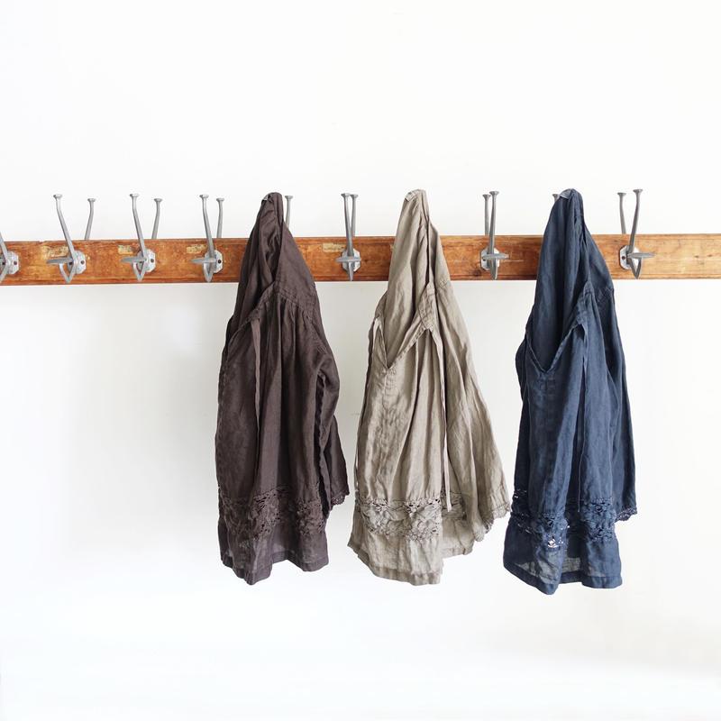 18-0033  硫化染め Linen Lase Pullover / MOCHA