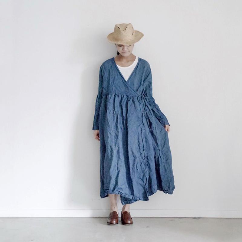 17-0019 French Linen INDIGO Dress / AQUA BLUE