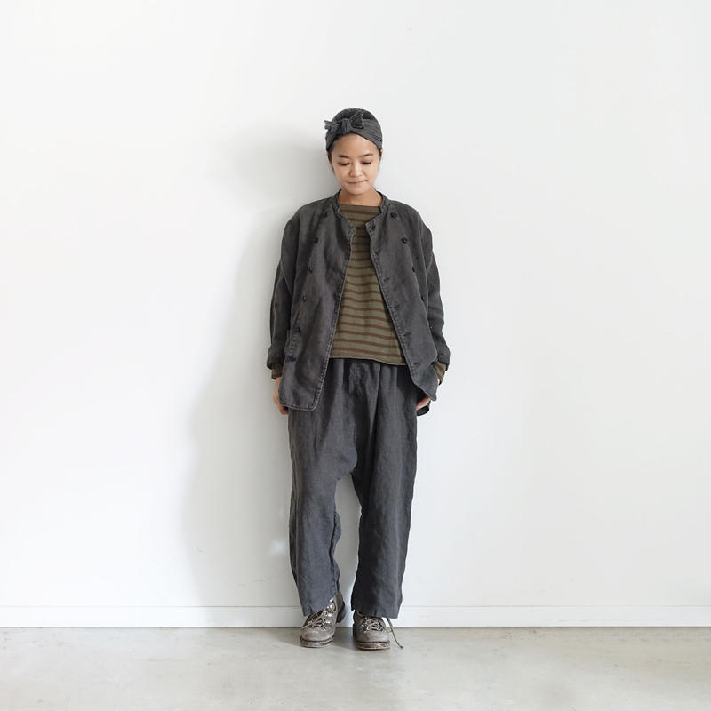 18-0041  硫化染め Linen Pants / CHAROAL