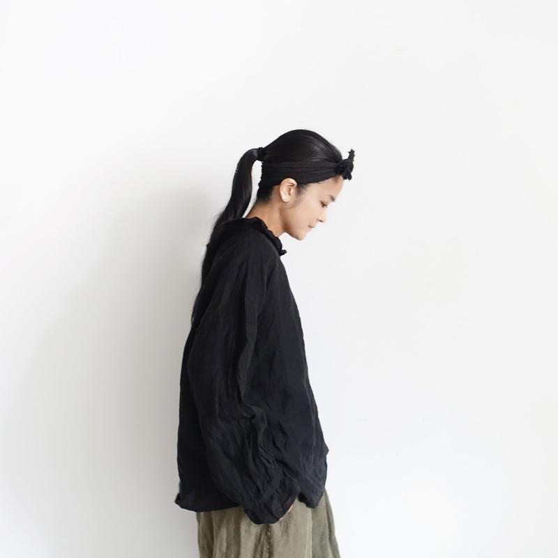 17-0024 Linen Frill Pullover / BLACK