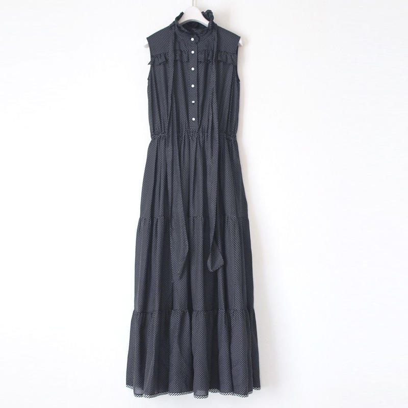 BOUTIQUE cotton silk dot long dress TE-3201 BALCK