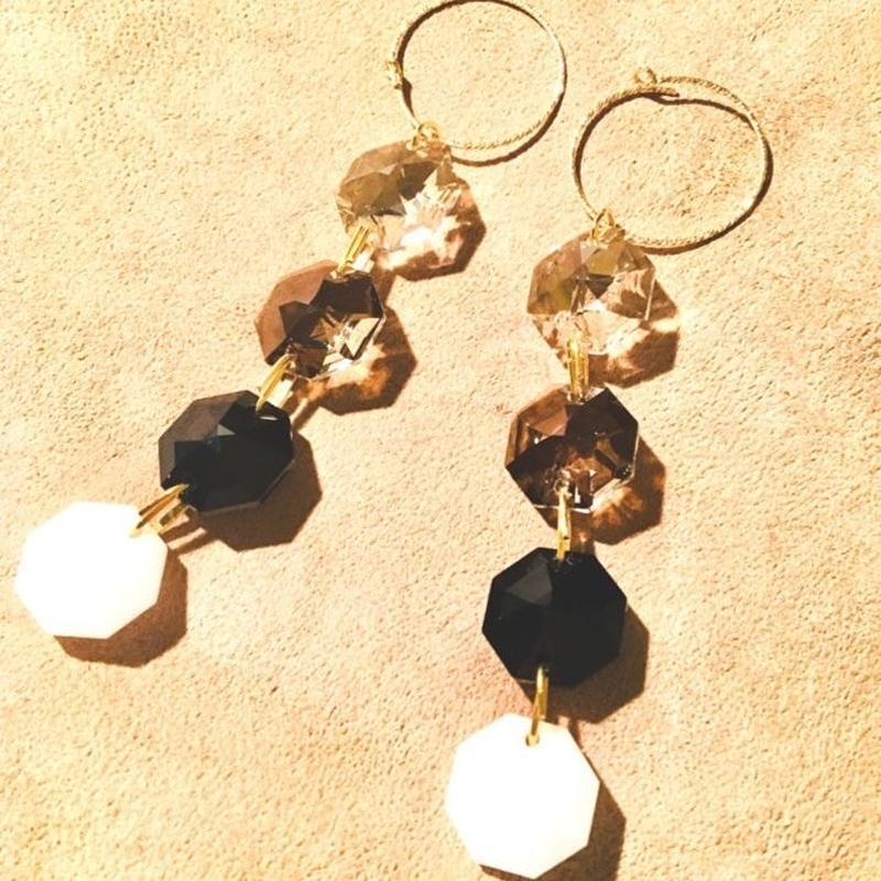 BOUTIQUE  Swarovski pierced earrings  TZ-3400 /NIGHT FALLS